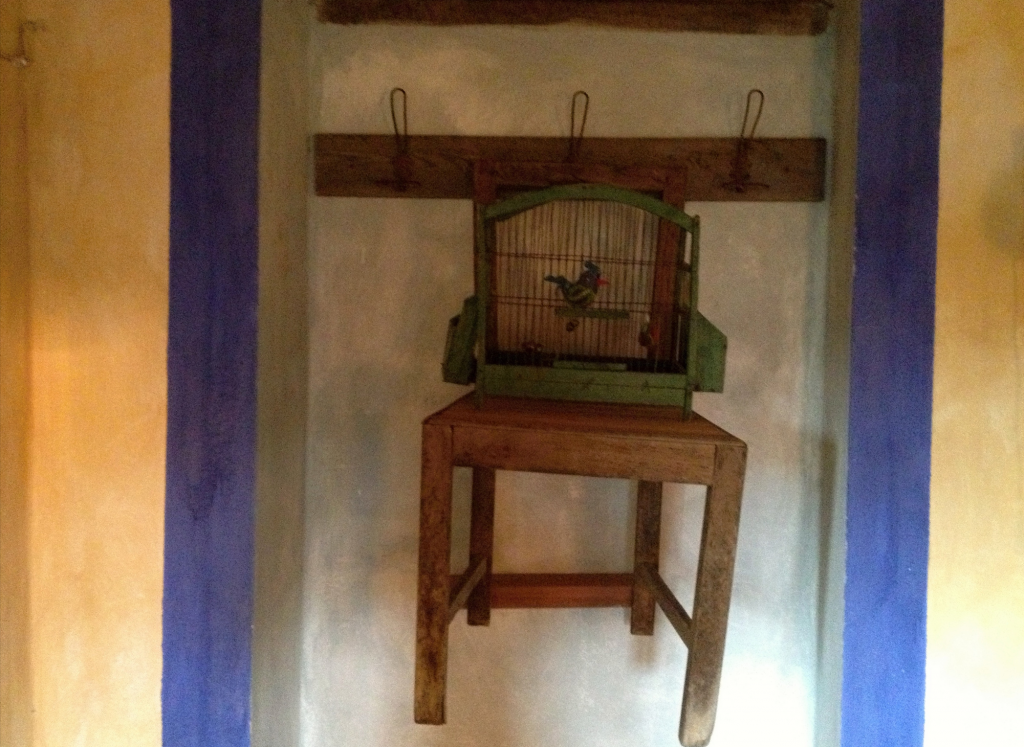 chair with bird